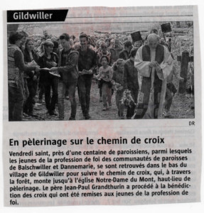 L'Alsace 23-04-2017 CHEMIN DE CROIX
