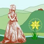 Dame en prière sur fond stylisé du piémont