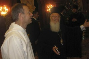 Au patriarcat (Phanar, Istanbul) avec le patriarche Bartholomée, samedi soir, 5 janvier 2013.