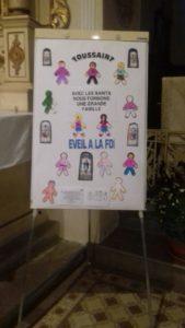 Le panneau présenté à l'eveil à la foi, pour les enfants de 4 à 7 ans, réunis le 4 novembre en l'église de Fislis