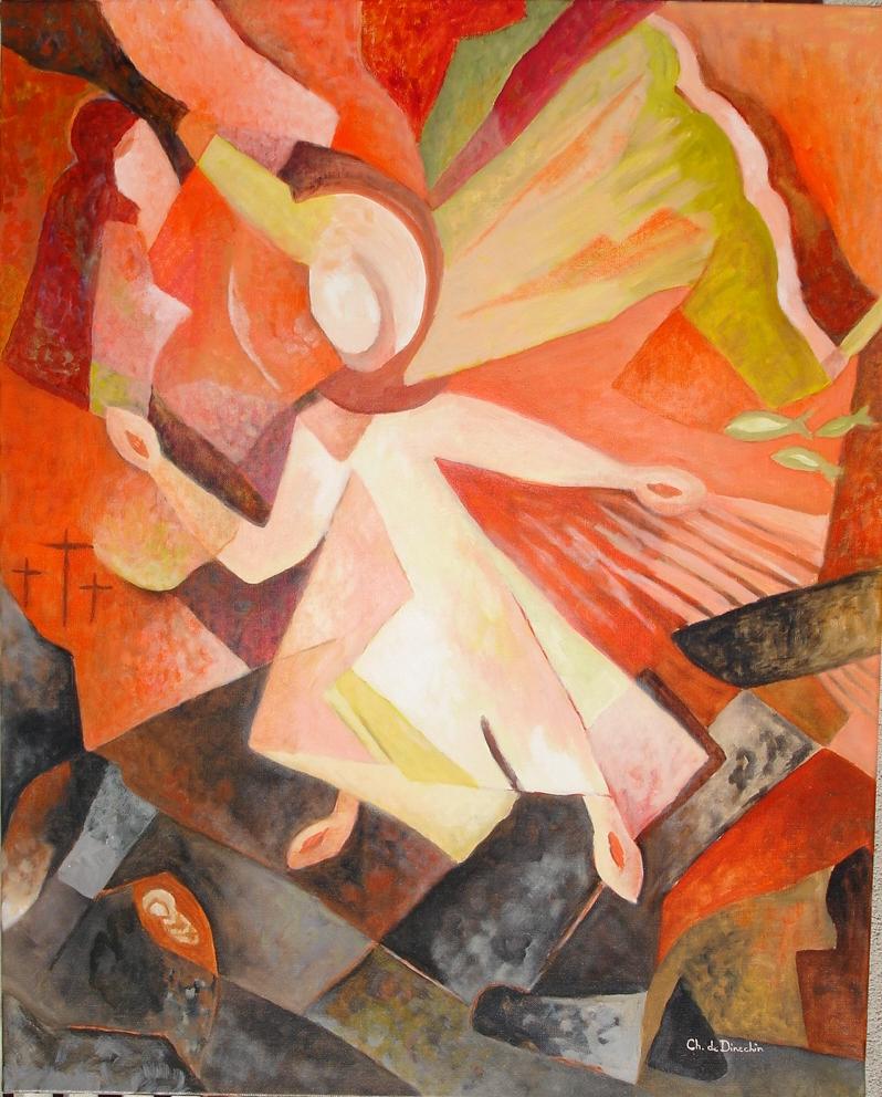 """Huile sur toile  """"Résurrection"""" - Chantal de Dinechin"""
